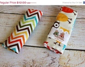 30% OFF Seat Belt Strap Padded Covers -- Bermuda Owls & Chevron -- READY TO Ship Strap Pads