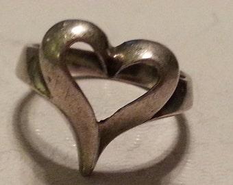 Vintage Sterling Silver Heart Ring 925 Promise Ring Love Romance Gift 1980s Girls Women Size 6