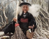 1/12th scale miniature witch handmade doll OOAK for the dolls house