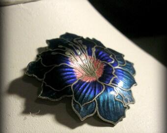 Intense Blue Cloisonee Enamel Flower Brooch