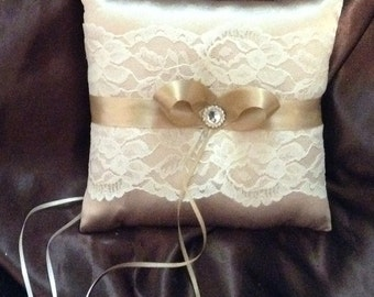 ring bearer pillow champagne satin and ivory lace