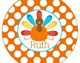 Thanksgiving Turkey with Polka dot iron ons iron on