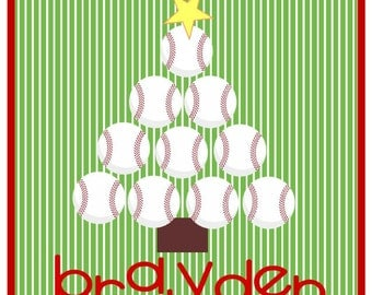 Baseball Christmas Tres iron on