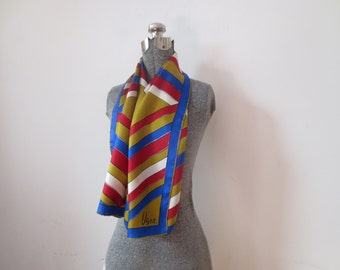 60s Gold Blue & Red Vera Neumann Long Scarf