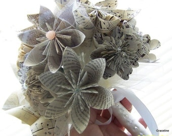 Book Page and Sheet Music Keepsake Bouquet - 12 Flowers Plus Added Decor