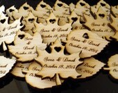 60 Wood Leaf Wedding Favors Personalized  Wood Leaves