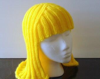 Bright Yellow Hat Hair Knit Wig Yarn Wig Halloween Wig