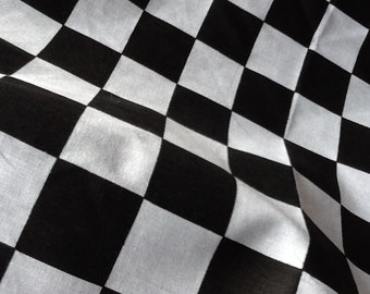 Checkerboard Fabric Black / White Cotton Blend Fabric, One Yard (X60), more available