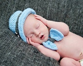 Newborn Fedora and Bow Tie Photography Prop Powder Blue and Grey