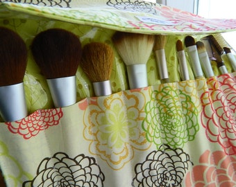 "Deluxe 10 Slot Makeup Brush Roll-up, Brush Organizer Carrier ""Fresh Fusion"" Custom Sizes Available"