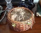 Vintage wicker drawstring sewing basket with glass beads