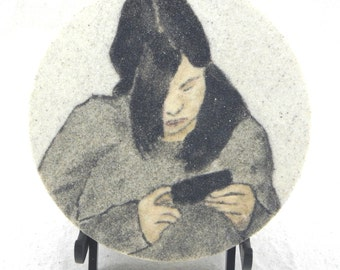 "Texting original sand painting 7"" circle art work teenager childhood portraits sand art eco art cell phone Commissions welcomed"