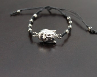 Silver Buddha Head Bracelet ~ Adjustable Bracelet ~ Silver and Black Bracelet ~ Gift for her ~ Gift for him ~ Silver Buddha link