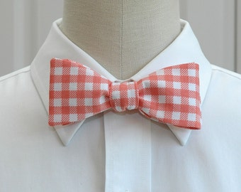 Men's Bow Tie in coral oversized gingham plaid (self-tie)