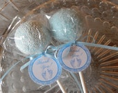 Baby Shower Thank You Favor Tags - For Cake Pops - Lollipops - Cookies - Party Favors - 1.5 inch circle tags in pink or blue (50)