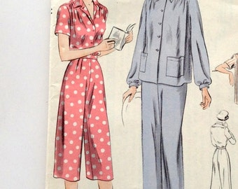 50s Vogue 6852 Top and Pants Lounge wear Pajamas Size 14 Bust 32