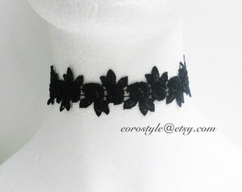 Black Lace Choker Necklace, Flower Choker, Gothic Choker, Wedding Jewlery, , Mothers day Gift, Boho Jewelry Necklace Women's Fashion Jewelry