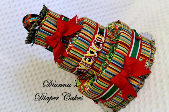 Mexico Hispanic Mexican Baby Diaper Cake Shower Gift Or