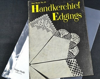HANKIE EDGING PATTERNS, with White Irish Linen Hankie, Star Book 1948 No. 61, Crochet Lace, Handerkerchief 25 Edgings Excellent Condition