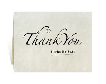 Thank You, You're My Star printable card black and white, appreciation of hard work, gifts, thoughtful acts of kindness, good works, reward