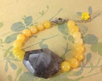 Yellow And Grey Labradorite Bracelet