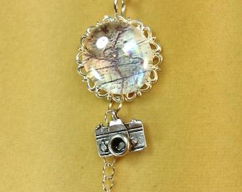 Globetrotter Travel Necklace Pendant Map