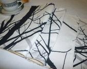 4 Black Gray White Tree Placemats Machine washable