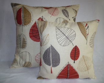 PAIR BIG SMALL Pillows Red Gray Designer Cushion Covers Pillowcases Shams Slips Scatter.