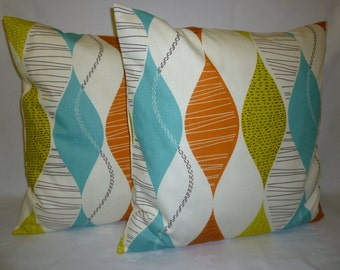 """PAIR Orange Pillows Cushion Covers 4 CHOICES Mix Match Designer Blue Green Red Accent Throw Shams Slips Scatter PAIR 16"""" (40cm)"""