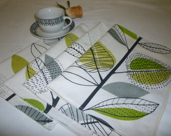 4 Lime Green Grey Placemats Funky Floral Fabric Dinner Mats washable