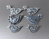 Custom Order 6 blue bird brooches