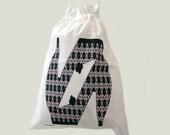 Storage Drawstring Bag Large Shoes Black & White