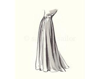 Vintage Fashion Sketch Dress 4, Girls Room decor, nursery decor, neutral tones, grey, cream, girls room prints