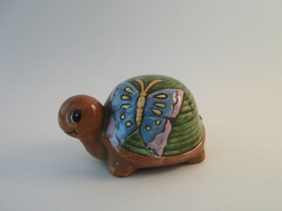 Turtle home or garden decor handmade vintage ceramic turtle for Turtle decorations for home