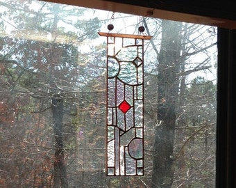 Stained glass panel home decor glass art home and living art glass gift window treatment suncatcher