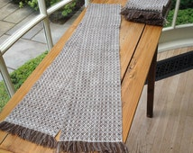 Woven Merino Scarf in Natural White and Chocolate Brown with Knotted Fringe