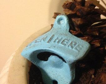Bottle Opener, Cast Iron Bottle opener / Blue Bottle Opener / Wall Decor / Metal Wall Decor