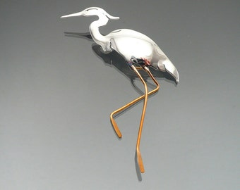 Heron art jewelry, animal totem art , Herons, gift ideas, Heron Pin, nature jewelry, wildlife jewelry, metal handmade art jewelry, sterling