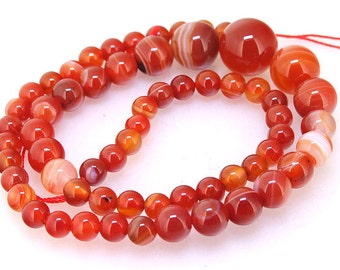 "Turriform Shape Red Agate Round agate Beads Charm 14mmx6mm Round red agate beads Gemstone Beads One strand17"" One Full Strand  Agate Jewelry"