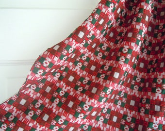 Red and Green Checkered Vintage Fabric Remnant- Patterned Checkerd Fabric-  Vintage Christmas Fabric