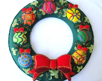 Kit to make the 19 and 1/2 inch Sequined Felt Christmas Ornament Wreath