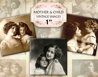 Mother and child - Victorian and edwardian Vintage Illustrations digital collage sheet pedant size 1x1 inches (413) Buy 3 - get 1 free