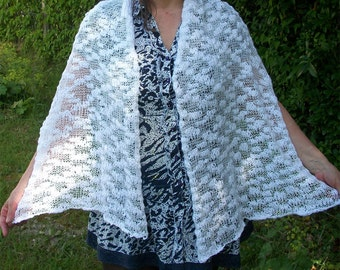 Hand knit lace effect shawl white stole wrap chic