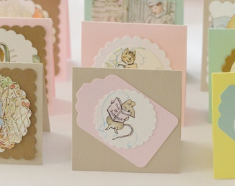 Beatrix Potter Upcycled Small Cards for Easter Baskets, Holiday Kraft Mini Cards, Small Woodlands Creature Cards