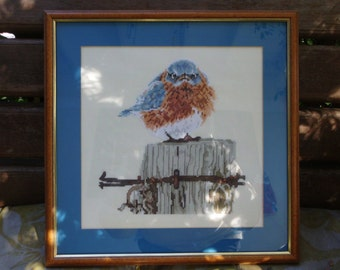 Blue bird counted cross stitch