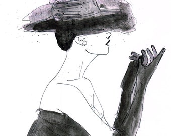 Fashion art print 1950s fifties Glamorous illustration print 8x10 by Stephanie beever