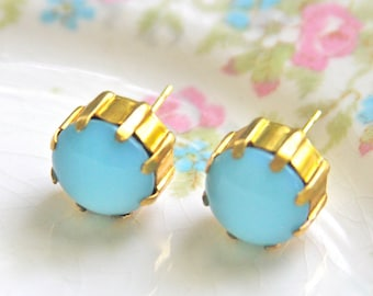 Vintage Aqua Blue Glass Round Gold Prong Rhinestone Post Earrings - Brass, Prong, - Wedding, Bridal, Beach, Honeymoon