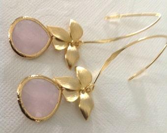 Pink dangle earrings, pink earrings, pink drop earrings,bridesmaid dangle earrings,orchid jewelry earring,pink long earrings, pink and gold