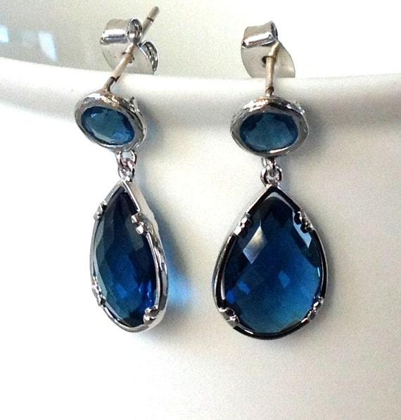 Wedding Stud earrings / Sapphire Tear Drop by 2010louisek7 ...