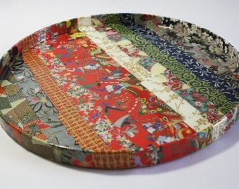 Asian Quilt Decoupaged Round Tray
